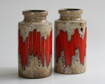 Two Scheurich Lora vases 203-18, flame decor, West Germany