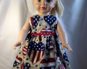 "Patriotic red, white and blue dress for 18"" doll"