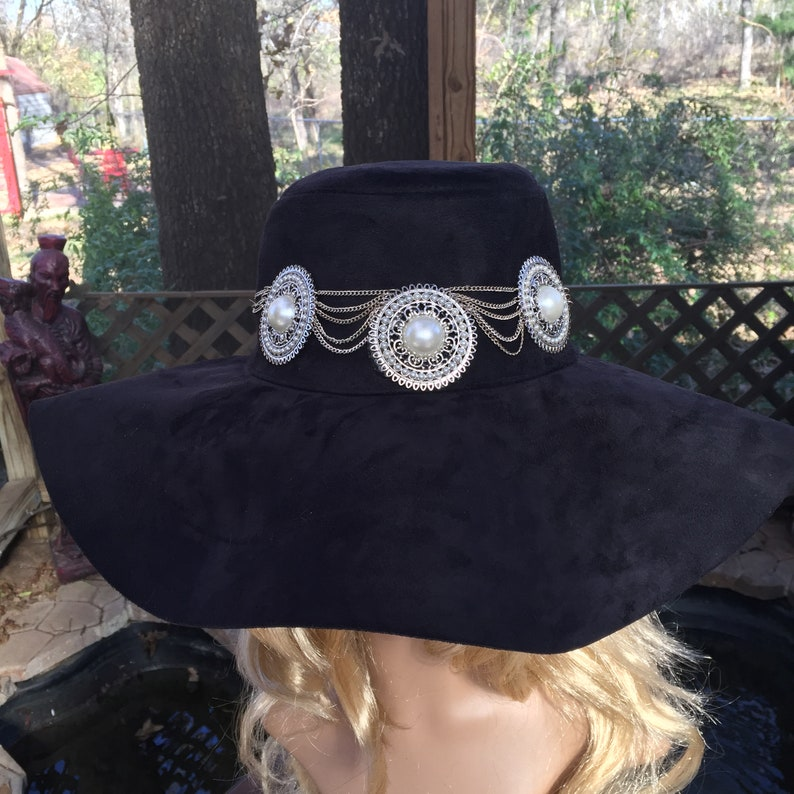 Black Wide Brim Felt Floppy Hat with Chain and Medallions and  3637a85699f8