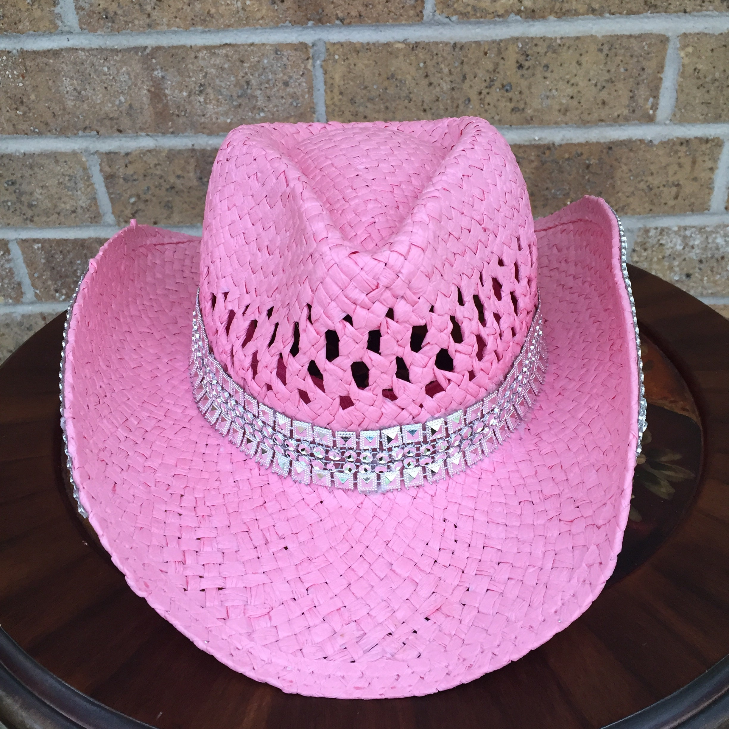 Childs Pink Straw Western Hat with Silver Hat Band and Silver  c6c0ac54979