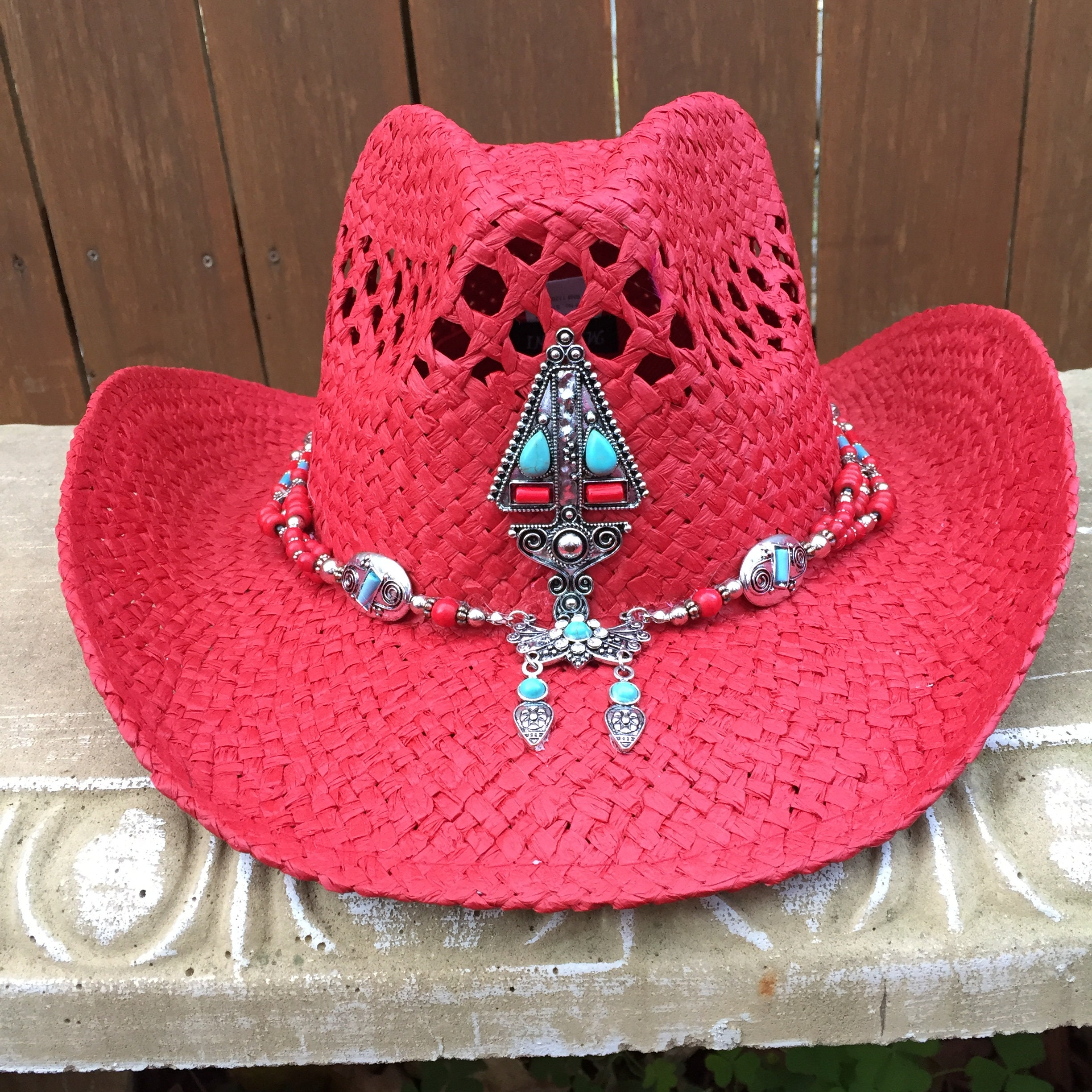 6a3f626425a3ea Red Straw Cowboy / Western Hat with Turquoise & Red Stones and | Etsy