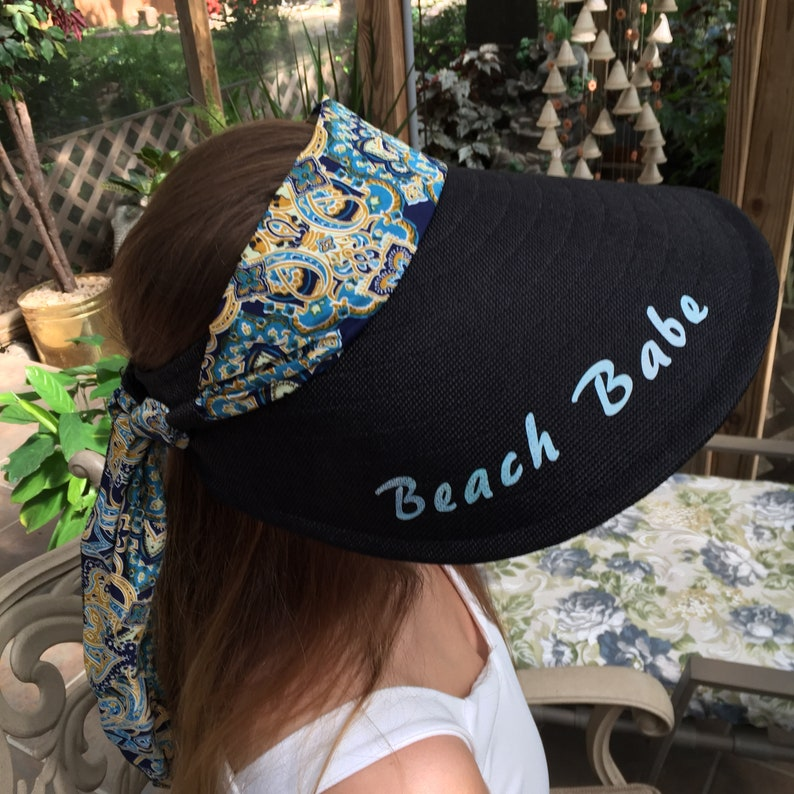 WideLong Brim Visor with Attached Scarf in Front and Loops Around Back to Tie Monogrammed with Beach Babe on Top and Under the Visor.