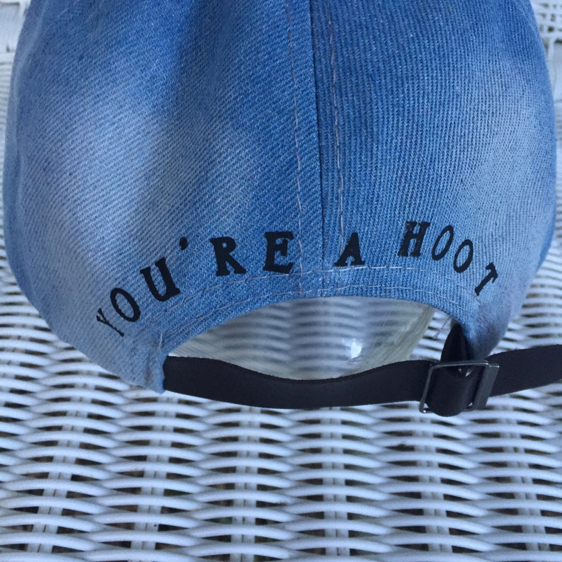 Child/'s Baseball Cap With Large Crystal Owl and Studded Bill Monogramed with You/'re a Hoot  on back Denim Cotton Fabric and Adjustable