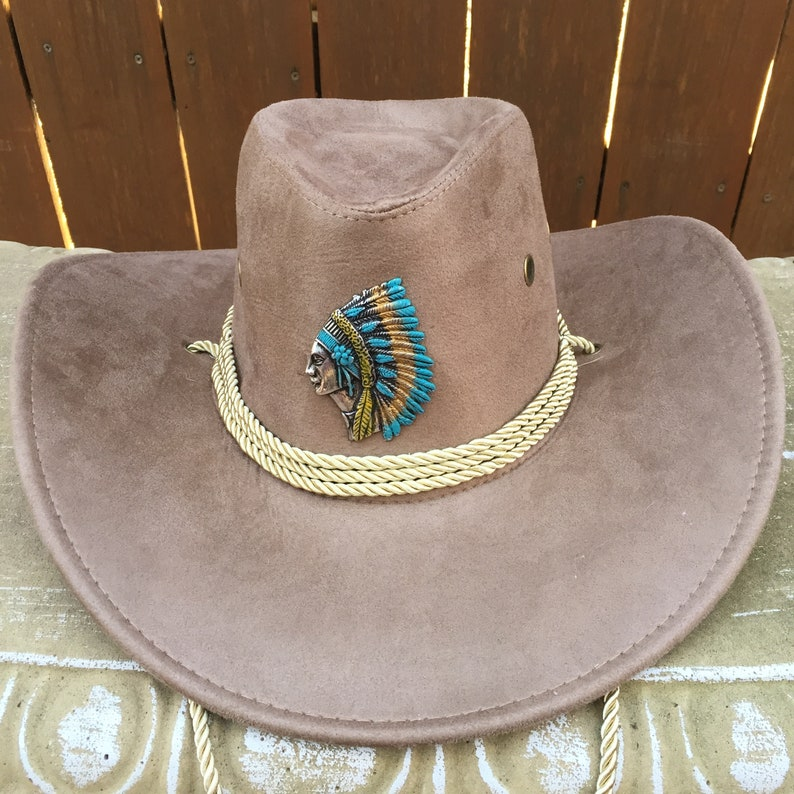 Buck Skin Color Cowboy Hat of Faux Felt Accented with an Indian Medallion  and Tan Rope Hat Band and Chain Strap