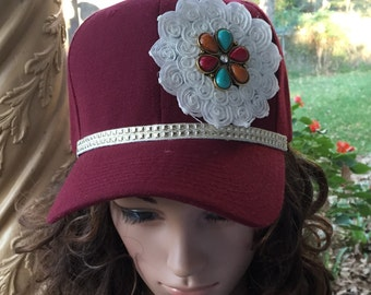 Ball Cap in Burgandy with Lace & Flower Pendant