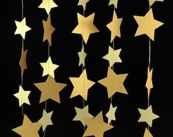 Gold Star Garland - Gold Garland, Wedding Garland, Gold Decor, Birthday Garland, Gold Party Decorations, Gold Decorations - GS005-2-4