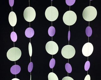 Mint Green and Purple Circle Garland - Purple and Green Garland, Mint and Purple, Purple and Mint Green Party Decorations - GC069-43-104