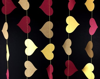 Maroon and Gold Heart Garland with Kraft Hearts: Gold and Maroon Garland, Kraft Paper Garland, Red & Gold Decor Decoration - GH067-2-59-68
