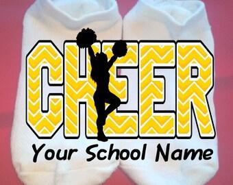 c12015ced Cheer - Chevron - Cheerleader - Your School Name or Team - Lucky Socks - Custom  Socks - cheer socks - Custom  any colors   NOT VINYL
