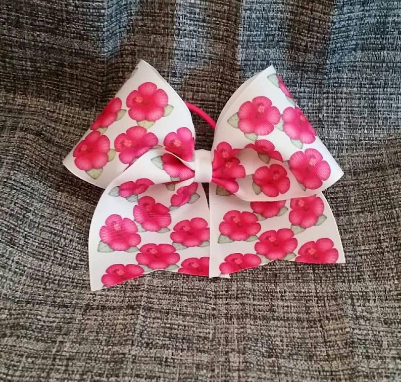 Hibiscus Flower Emoji Cheer Bow On White Ribbon Or White Etsy