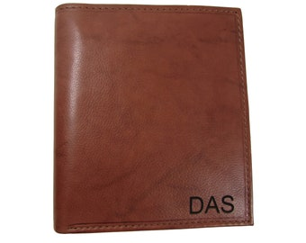 Personalized Monogram Men's Leather Large Hipster Bifold Wallet, Light Brown