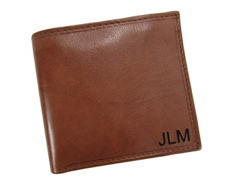 Personalized Monogram Men's Leather Small Hipster Bifold Wallet, Light Brown