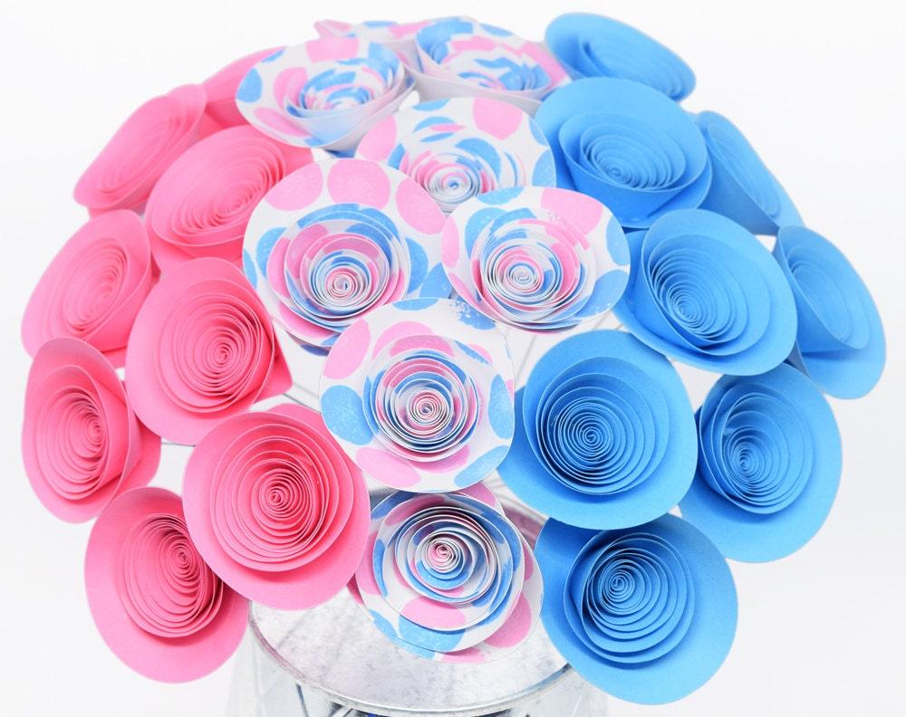 Gender Reveal Ideas 24 Pink and Blue Paper Flowers Gender   Etsy