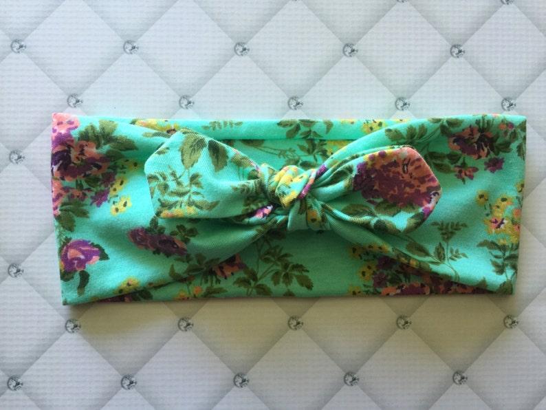 Purple Floral on Aqua Green Top knot Headband  Turban  Bow