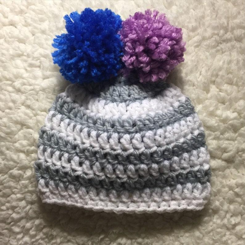 Newborn baby gender neutral beanie Gender reveal  baby boy  baby girl  blue or pink  Booties