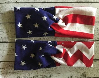 Stars and Stripes Twisted Turban Headband // Red // White // Blue // Headwrap // USA //