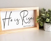 He is Risen, Easter Sign, Christ Decor, Bible Verse, Wall Art, Farmhouse, Easter Decorations, Wood Signs, Farmhouse style, Minimalism,