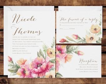 Floral Wedding Invitation Set, Personalized Wedding Invitations, Beautiful Floral Rustic Brush Stoke Design, White Envelopes Included