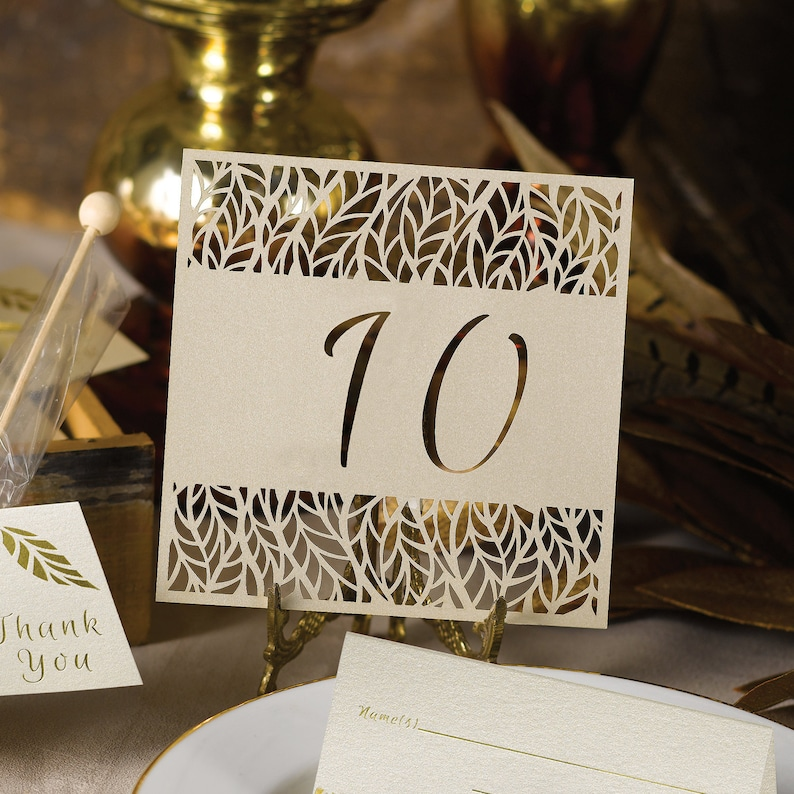 Table Numbers Laser Cut Organic Leaves Design Wedding image 0