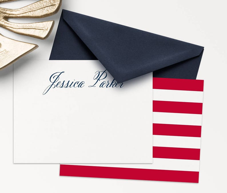 25 Personalized Stationery / Patriotic Note Cards / Thank You image 0
