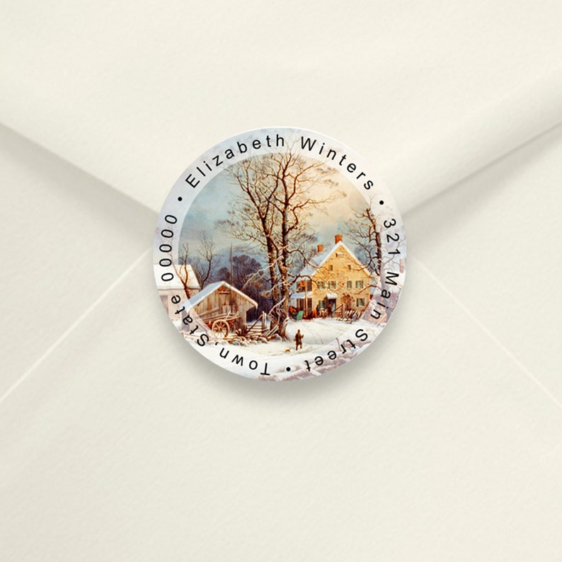 Return Address Labels Winter Scene 2 Inch Round Return image 0