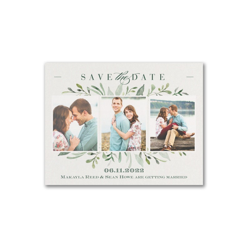 Watercolor Wedding Greenery Save The Date Photo Cards image 0