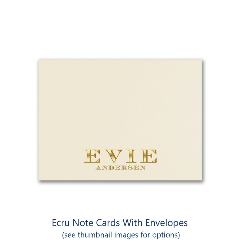 Ecru Note Cards Personalized With Name Envelopes Included  image 0