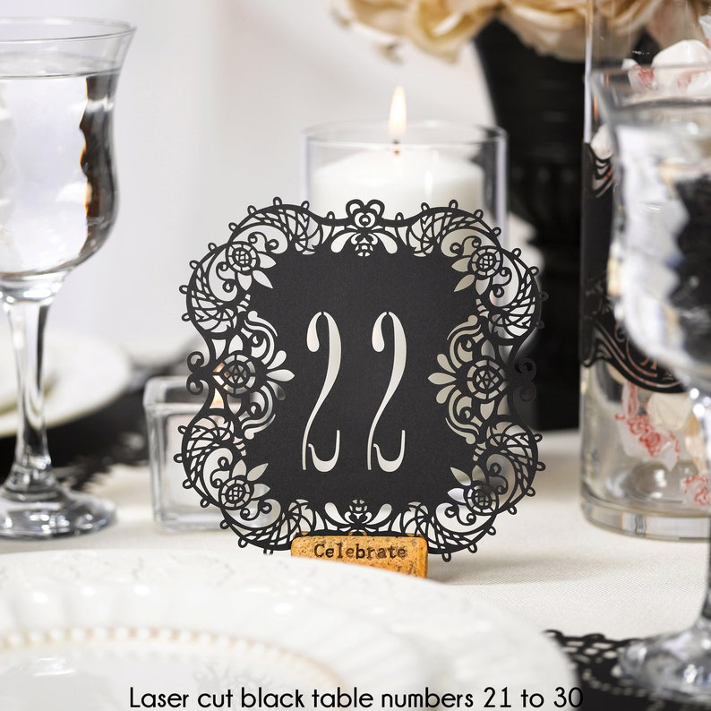 Black Table Numbers Wedding Reception Laser Cut Table Number image 0