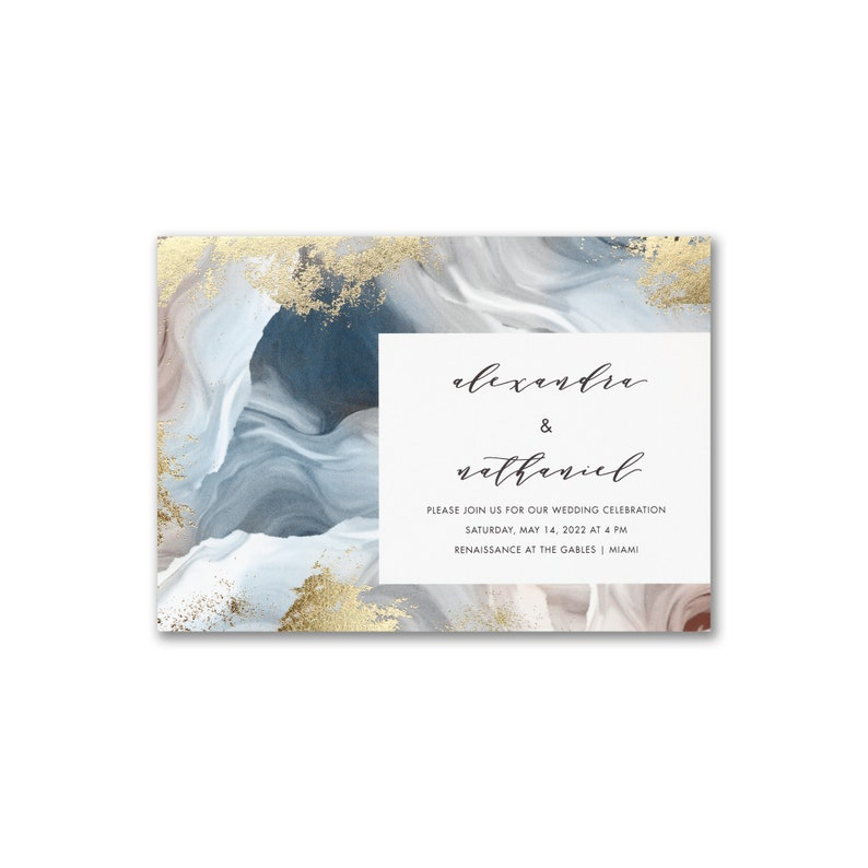 Wedding Invitation Marble Design with Gold Foil Detail image 0