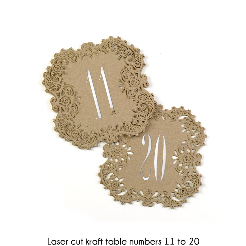 Kraft Table Numbers Wedding Reception Laser Cut Table Number image 0