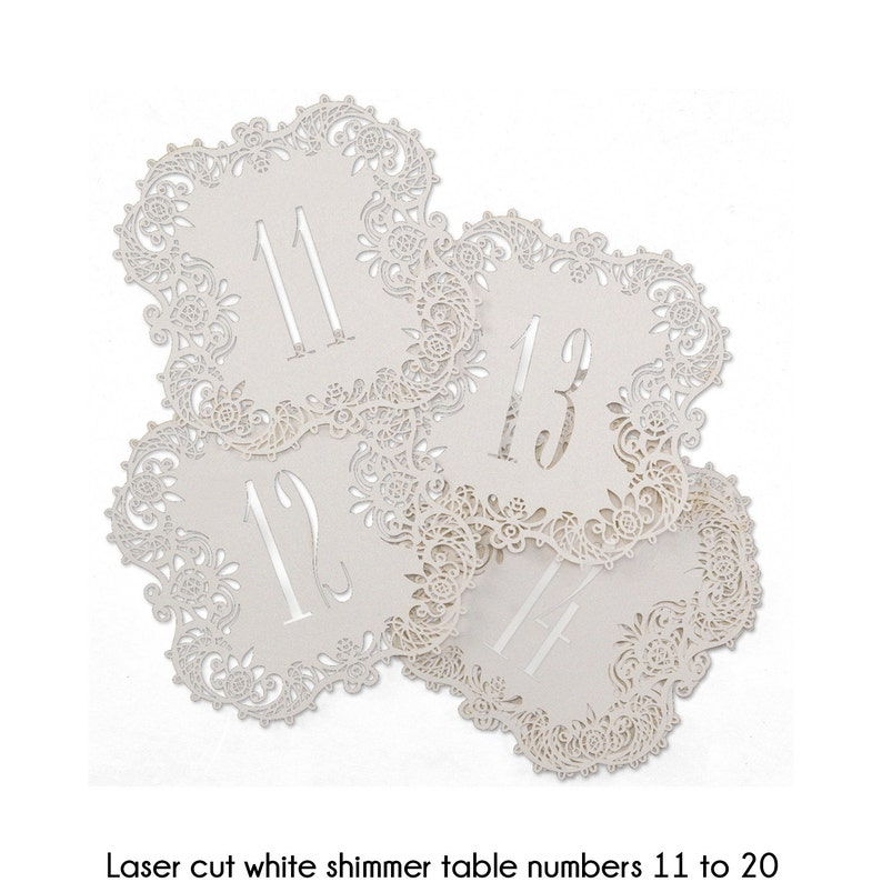 Table Numbers White Shimmer Laser Cut Wedding Reception Table image 0