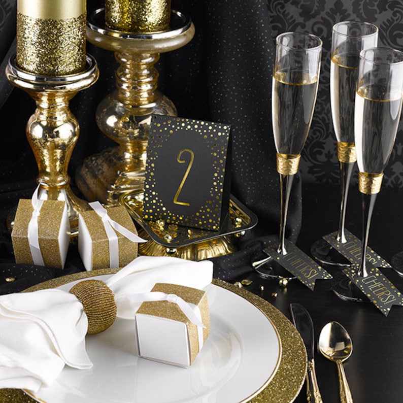 Table Numbers Tent Cards For Wedding Reception / Gold Foil image 0