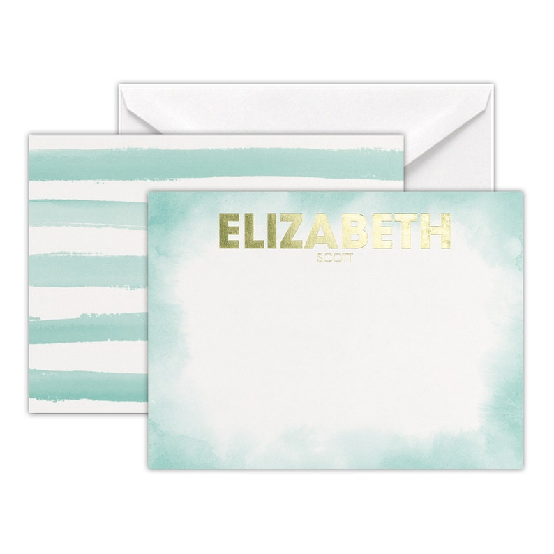 Watercolor Lines Note Cards Metallic Gold Foil Name image 0