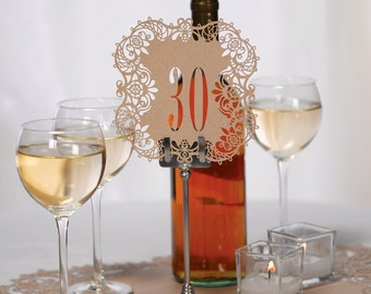 Kraft Table Numbers Wedding Reception Laser Cut Table Number Cards 21 To 30