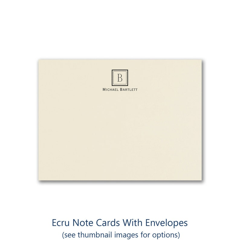 Note Cards Ecru Personalized With Monogram And Name Envelopes image 0