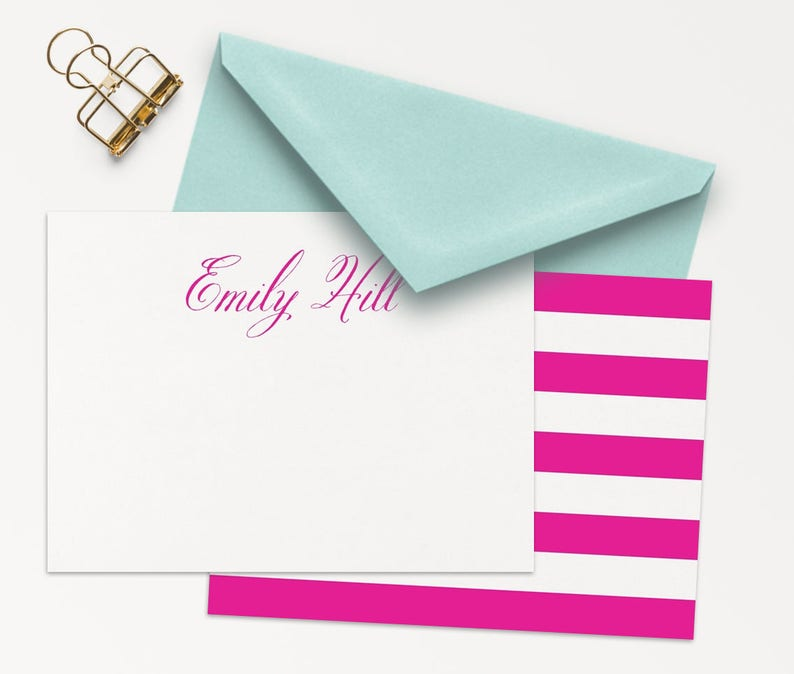 25 Personalized Stationery / Fuchsia And White Note Cards / image 0