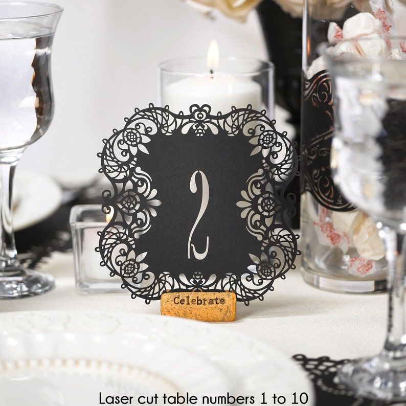 Table Numbers Black Laser Cut Wedding Reception Table Number image 0