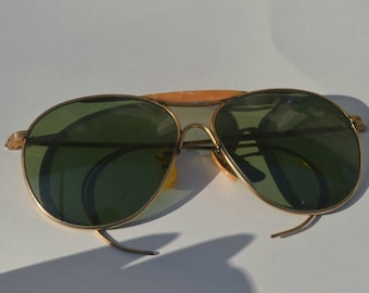 a70e7a0e32 Vintage 40s WWII Era AO American Optical Green Aviator Sunglasses 58mm  RESERVED for Seth