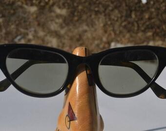 Vintage 50s Mid Century Tura Black Aluminum Cats Eye Cateye Sunglasses Glasses