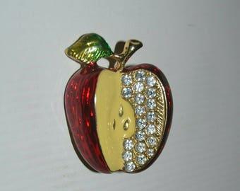 Vintage Enamel and Rhinestone Apple Brooch 0439