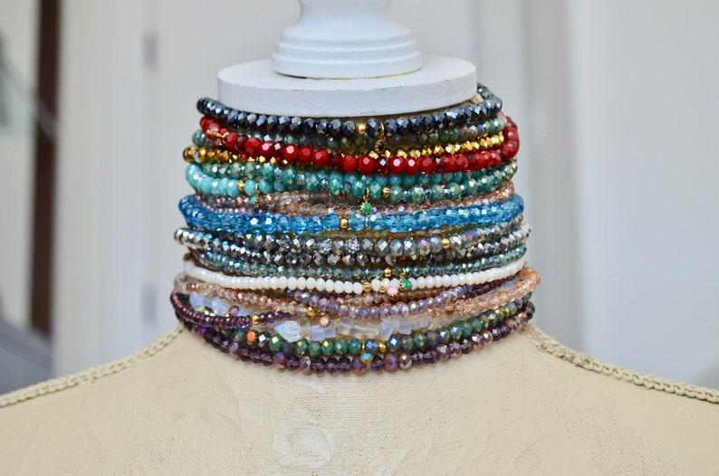 Purple Stretchy Dainty Jewelry Layering Crystal Choker Minimal Choker