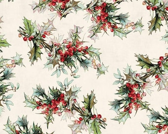 Festive Greens Holiday seasonal fabric collection White Yuletide by Tim Holtz Free Spirit Christmas  Fabric