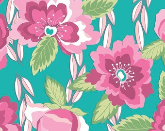 Teal floral fabric etsy sale blossoms teal by riley blake designs pink floral flowers jersey knit cotton lycra stretch fabric 17 end of bolt mightylinksfo