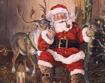 Sale 100/% Cotton Fabric Makower Christmas Scandinavian Santa/'s Skipping Reindeer