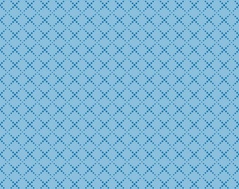 Riley Blake Designs Moments Crosswalk Aqua Blue Geometric Diagonal Lattice Fruit Quilting Cotton Fabric