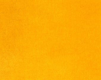 Marigold Orange Yellow Cotton Velour fabric by the yard