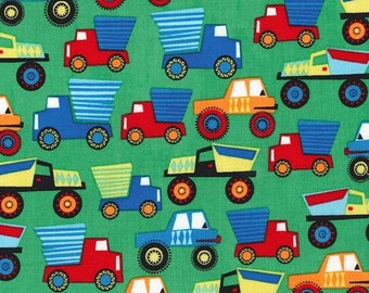 Little Movers Green by Michael Miller - Construction Trucks Bulldozer - Quilting Cotton Fabric - choose your cut