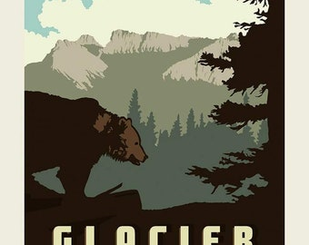 SALE National Parks Poster Panel Glacier by Riley Blake Designs - Montana Mountains Bear Wildlife Recreation - Quilting Cotton Fabric