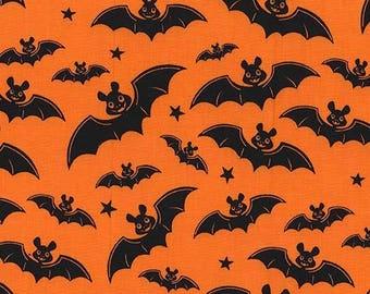 SALE Gnome Halloween A Little Batty Orange - Michael Miller - Bats Black - Quilting Cotton Fabric - choose your cut