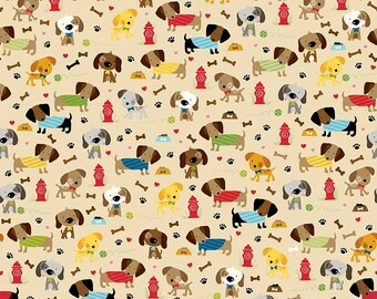 SALE Rover Dog Park Tan by Riley Blake Designs - Puppy Brown - Jersey KNIT cotton lycra spandex stretch fabric - choose your cut